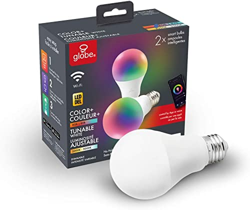 Wi-Fi Smart 10 Watt 60W Equivalent Multicolor Changing RGB Tunable White Frosted LED Light Bulb, No Hub Required, Voice Activated, 2000K – 5000K, A19 Shape, E26 Base