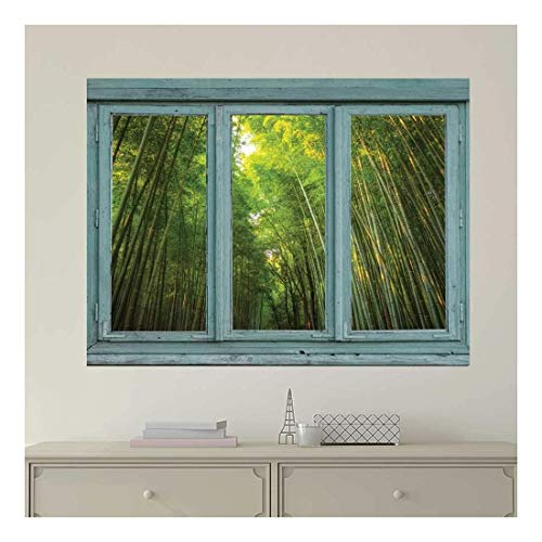 Vintage Teal Window Looking Out Into a Green Bamboo Forest Wall Mural