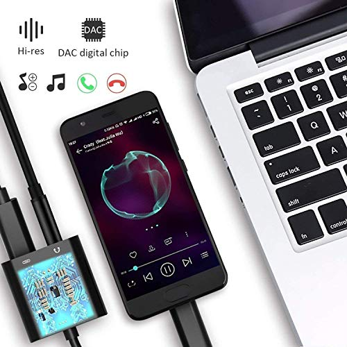 Azddur 2 in 1 USB C to 3.5mm Audio Adapter&PD Fast Charging Dongle Compatible with Galaxy S20/S20+/20Ultra/Note 10/10+, Google Pixel 4/4XL/3/2XL, iPad Pro and More(Not for Moto&OnePlus)(Black)