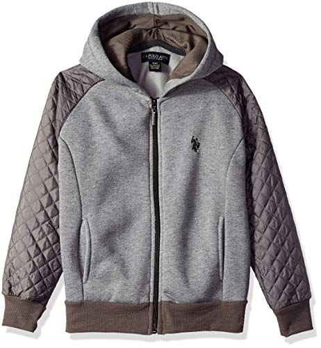 - U.S. Polo Assn. Big Boys' Hooded Zip or Snap Fleece Jacket, Quilted Sleeves Marled Light Grey, 8