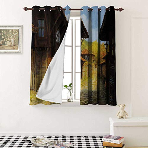 shenglv Ancient Decorative Curtains for Living Room Middle Age Wooden Houses in Fall Season Day Ottoman Balkans Traditional Style Print Curtains Kids Room W72 x L72 Inch Brown Blue