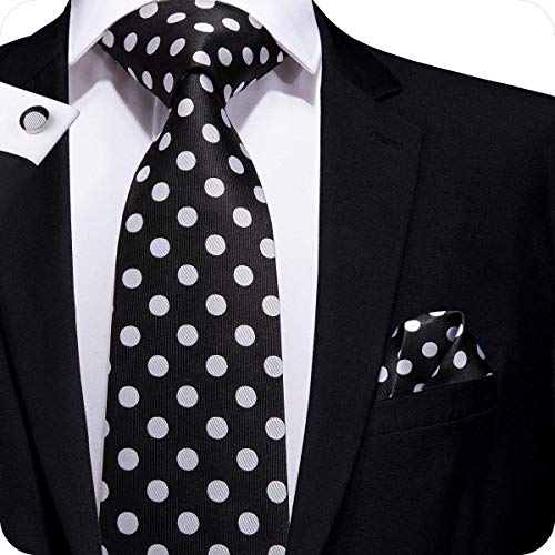 Hi-Tie Men Black White Polka Dots Tie Necktie with Cufflinks and Pocket Square Tie Set]()