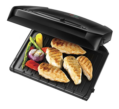 -[ George Foreman 6-Portion Entertaining Grill with Removable Plates 20850 - Black  ]-