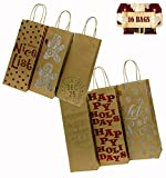 Christmas Holiday Wine Gift Bags,16 Kraft foil hot-Stamp Designs, Two Packs of Eight Bottle Bags in Assorted Christmas Prints; Set of 16 Bags