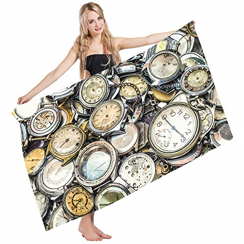 Mugod Beach Towel Bath Towels Clock Antique A Pile of Several Different Vintage Style Clocks Retro Yoga/Golf/Swim/Hair/Hand Towel for Men Women Girl Kids Baby 64x32 Inch by Mugod