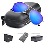 LUENX Womens Aviator sunglasses Polarized & with Case - UV 400 Protection Dark Blue Lens Silver Frame 58mm