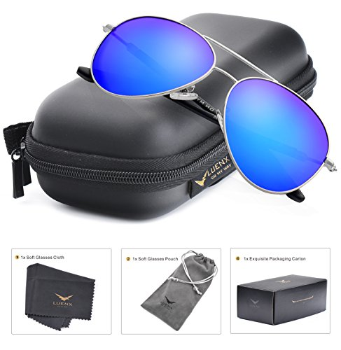 Blue Polarized Lens (LUENX Aviator polarized sunglasses for Men & Women with Elegant Glasses Case - UV 400 Protection Dark Blue Lens Silver Frame)