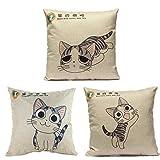 Us-DeSign Pillow :Linen Cute Cartoon C at Throw decorative pillow cases Sofa Car Cushion Cover Home Decor Pillowcase 3 Stylies Happy Sad