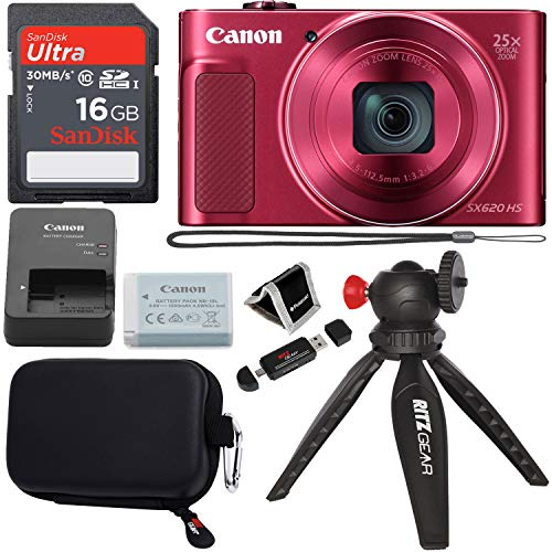 Canon PowerShot SX620 Digital Camera w/25x Optical Zoom – Wi-Fi & NFC Enabled (Red), SanDisk Ultra 16GB SDHC Memory Card, Ritz Gear Point & Shoot Camera Case and Accessory Bundle