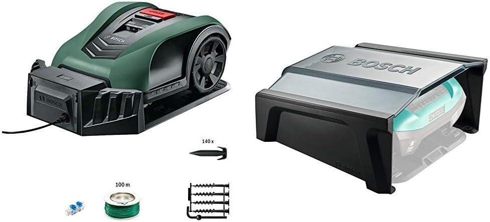 Bosch Robot cortacésped Indego S+ 350, función de aplicación, ancho de corte 19 cm, superficie de césped hasta 350 m² + Indego Garage - Garaje para Robot Cortacésped, 275 x 500 x 510 mm