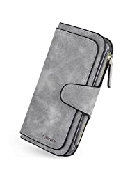 UTO Women's PU Matte Leather Wallet Card Holder Organizer Girls Small Cute Coin Purse with Snap Closure
