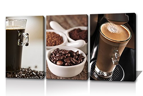 Noah Art Coffee Art Print Gallery-Wrapped Contemporary Still Life Artwork Coffee Pictures Printing on Canvas Wall Art 3 Piece Wooden Framed Coffee Paintings for Kitchen Wall Decor Ready to Hang
