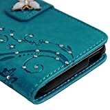 HTC Desire 626 / 626s Case-MOLLYCOOCLE Stand Wallet Premium PU Leather Bling Diamond Magnetic Emboss Butterfly Hand Wrist Strap TPU Bumper Skin Cover for HTC Desire 626 / 626s & Dust Plug & Stylus Pen