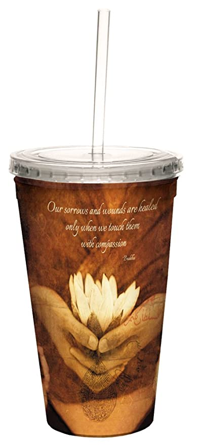 16-Ounce Tree-Free Greetings 98147 Elena Ray Awakening Lotus Double-Walled Cool Cup with Reusable Straw