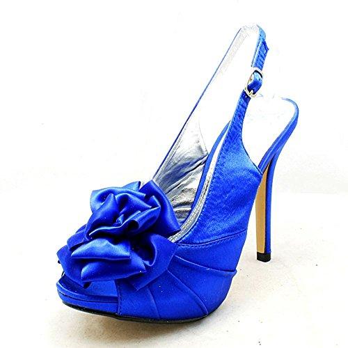 Back Rosette Ladies Peep Shoes Sling Party Blue Bridesmaid Toe SendIt4Me Xqw5xAdq