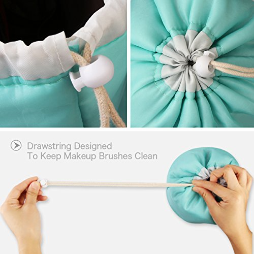 MAANGE Travel Makeup Bags 2PCs Waterproof Makeup Bag Cosmetic Bag Organizer Bathroom Storage Carry Case Drawstring Dresser Pouch with Mini Pouch & Clear PVC Makeup Brush Bag (Light Blue & Pink) by MAANGE (Image #3)