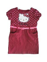 Hello Kitty Little Girls Burgundy Pink Heart Belt Dress 4-6X