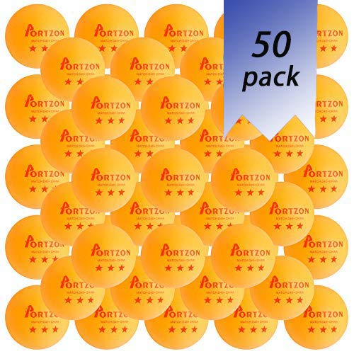 Portzon 50-Pack 3-Star 40+ Orange Table Tennis Balls,Advanced Ping Pong Ball,Premium Training Ping Pong Balls