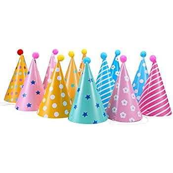 12PCS Party Hats Lovely Paper Cone Birthday For Children And Adults Fun Jamboree