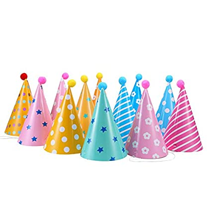 Amazon 12PCS Party Hats Lovely Paper Cone Birthday