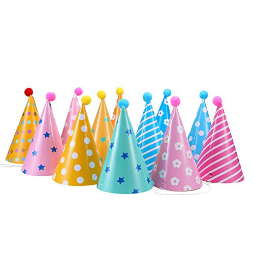 12PCS Party Hats, Lovely Paper Cone Birthday Party Hats for Children and Adults, Fun Birthday Jamboree Party (Adult Hats)