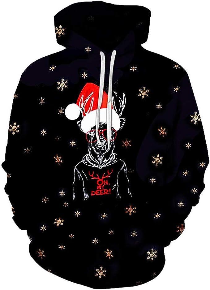 iLOOSKR Christmas Popular Pullover Women Men Funny 3D Print Long Sleeves Sweatshirt Blouse Tops