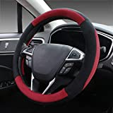 Image of SEG Direct Red Plush Winter Auto Car Steering Wheel Cover Universal 15 inch