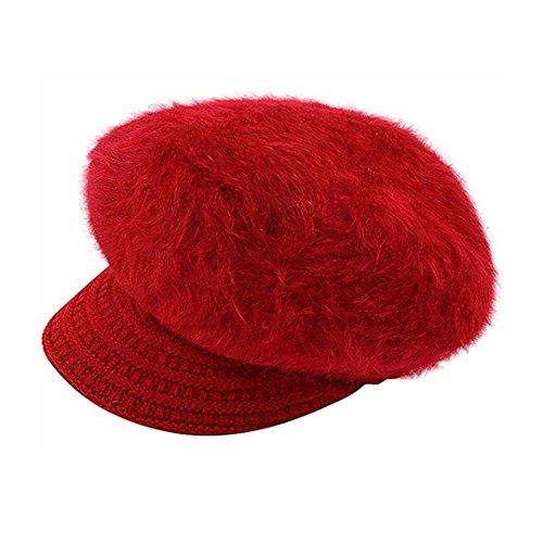 (Editha Women Solid Color Faux Rabbit Fur Beret Hat Fleece Lined Skull Cap Winter Warm Beanie Hat Skullies Beanies Red)