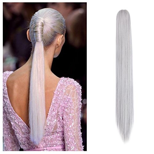 FUT Womens Claw Ponytail Clip in Hair Extensions 21 inches Long Straight Hairpiece Silver