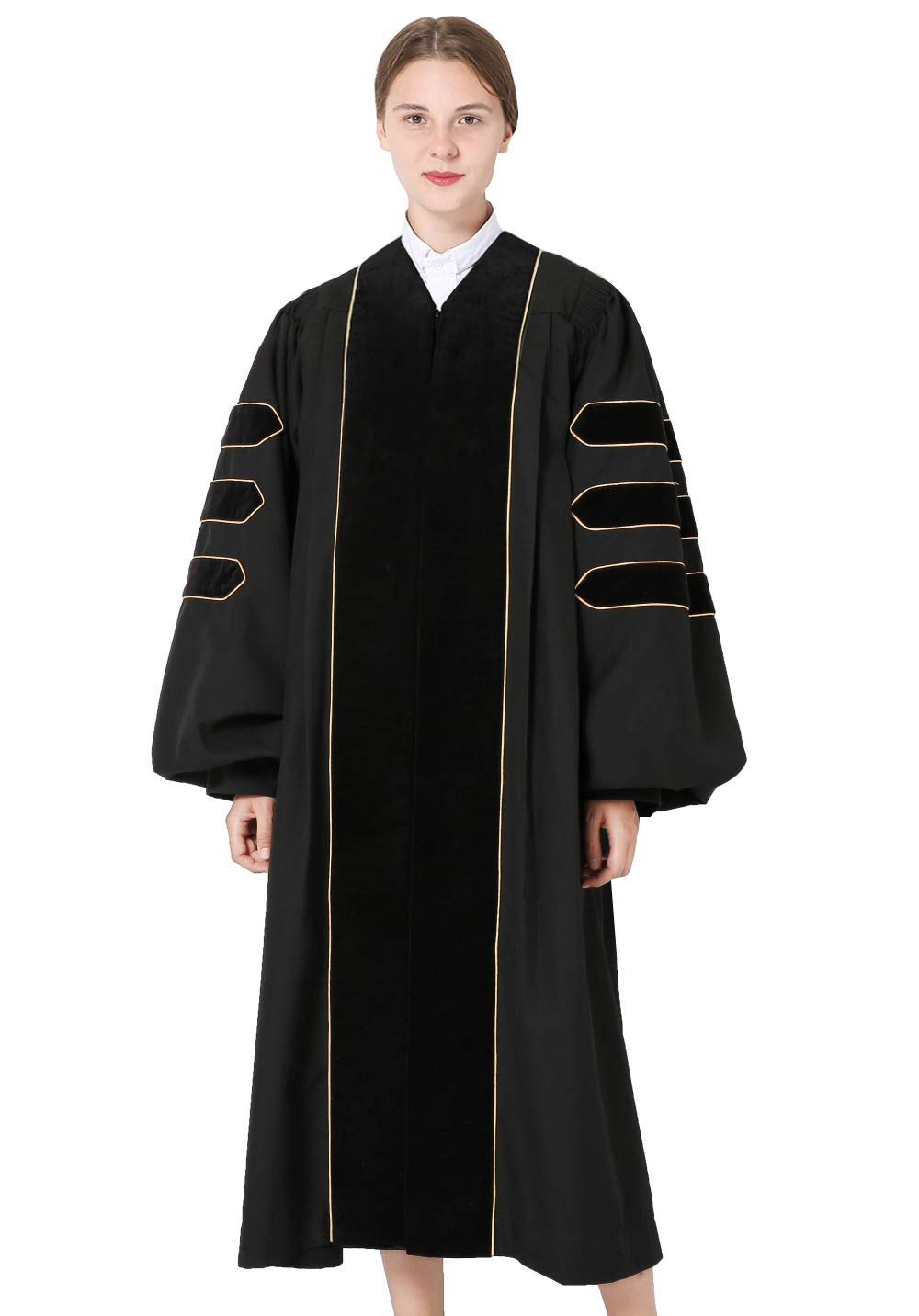 GraduationMall Deluxe Doctoral Graduation Gown for Faculty and Professor Black Velvet with Gold Piping 54(5'9''-5'11'')