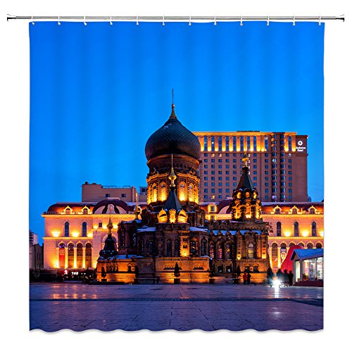 AMNYSF Hagia Sophia Cathedral Night Scenic Decor Shower Curtain Beauty Castle Yellow Light Blue Background World Grand Building,70x70 in Waterproof Polyester Fabric Bathroom Curtains