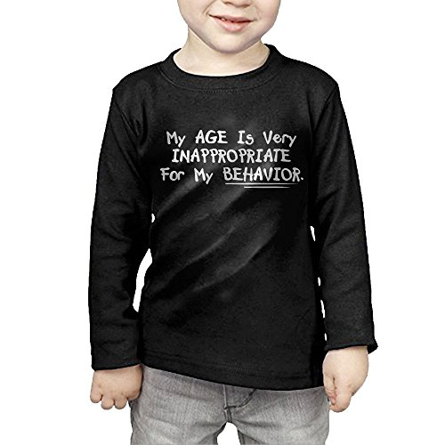 ZheuO Boys & Girls Baby My Age Is Very Inappropriate For My Behavior Cozy 100% Cotton T-Shirts Unisex Black 3 Toddler (Christmas Cards Behaviour)