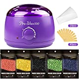 MIBOTE Wax Warmer Hair Removal Waxing Kit Electrict Hot Melt Wax Heater with 5 Flavors Wax Beans 40 Applicator Sticks and 10 Strips Paper Women Men Home Waxing Spa for Face Arm Armpits Legs Bikini