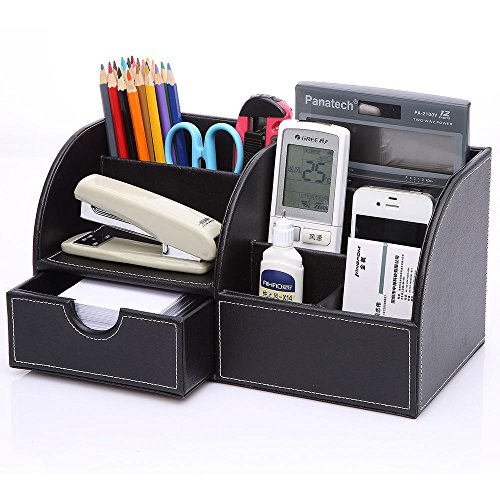 KINGOM™ 7 Storage Compartments Multifunctional PU Leather Office Desk Organizer,Desktop Stationery Storage Box Collection, Business Card/Pen/Pencil/Mobile Phone /Remote Control Holder Desk Supplies Organizer (Full Black Leather)