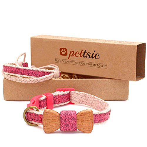 Matching Dog Collar Bow Tie & Owner Friendship Bracelet, Adjustable Size X-Small, Small & Medium, Safe, Durable, Eco Friendly Hemp with Fancy Pattern, Comfortable & Strong, Great Gift for Dog Lovers