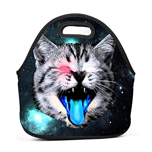 Naught Cat in Space Lunch Bag Insulated Reusable Neoprene School Picnic Lunch Box Waterproof Tote Bento Bag With Zippe Handbag For Men, Women, Adults, Kids, Girls, -