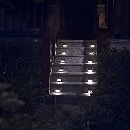 [White Light] Solar Lights for Steps Decks Yard Stairs Fences, LED lamp, Outdoor Waterproof, 6 Pack
