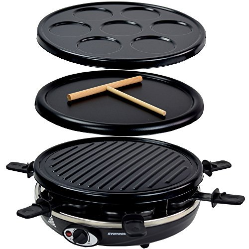 Syntrox Germany Basel 3 in 1 Raclette Crepemaker Grill für 6 Personen