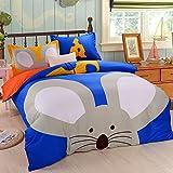 XMiniLife<TM> Cotton Twin/Full/King Duvet Cover Set,Rabbit Tiger Hippo Cartoon Bedding Set,Twin/Rat