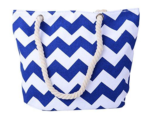 (Pulama Womens Beach Tote Canvas Shoulder Bag Wave Striped Anchor Summer Handbag Top Handle Bag Straw Beach Bag Azul Blue Wave)