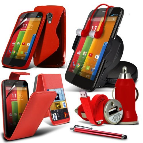 8-IN-1 Superior Accessory Pack MOTOROLA MOTO G Premium PU 3 Credit / Debit Card Slots Leather flip Case Skin Cover + LCD Screen Protector Guard + S Line Wave Gel Case + 360 Rotating Car Holder + 3.5 MM Earbud Earphone + Micro USB Flat Cable + Bullet Car Charger + Large Touchscreen Stylus Pen - ( Red ) By Fone-Case
