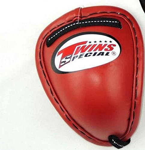 TWINS MUAYTHAI BOXING GROIN PROTECTOR GUARD LEATHE COVER STEEL CUP RED SIZE L