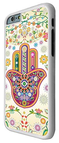 052 - Lucky Sharm Floral Hamsa Hand Shaby Chic Design iphone 6 Plus / iphone 6 Plus 5.5'' Coque Fashion Trend Case Coque Protection Cover plastique et métal - Blanc