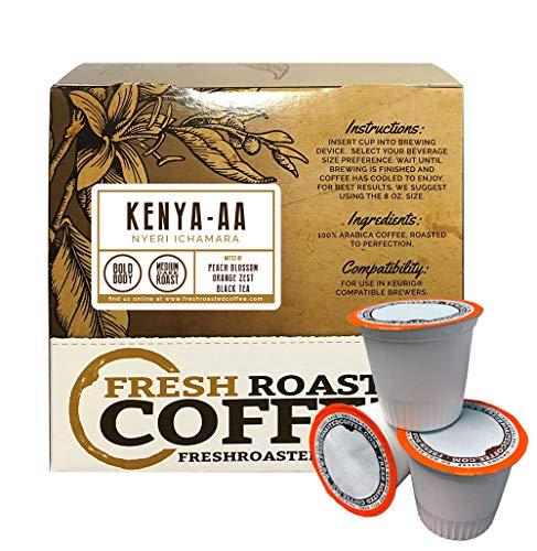 Fresh Roasted Coffee LLC, Kenya AA Nyeri Ichamara Coffee Pods, Medium Dark Roast, Single Origin, Capsules Compatible with 1.0 & 2.0 Single-Serve Brewers, 18 Count