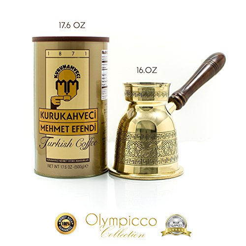 Mehmet Efendi Turkish Coffee 17.6 OZ – Greek Turkish Coffee Pot Solid Brass 3mm – Handmade Olympicco Collection (16 Oz) Pack of 2