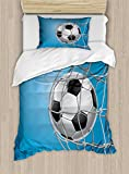 Ambesonne Soccer Duvet Cover Set Twin Size, Goal Football in Net Entertainment Playing for Winning Active Lifestyle, Decorative 2 Piece Bedding Set with 1 Pillow Sham, Blue Pale Grey Black