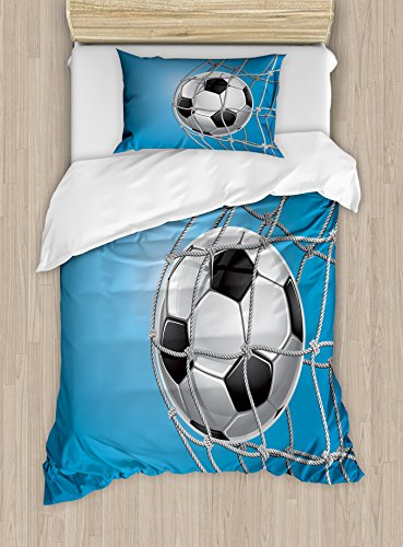 Ambesonne Soccer Duvet Cover Set Twin Size, Goal Football in Net Entertainment Playing for Winning Active Lifestyle, Decorative 2 Piece Bedding Set with 1 Pillow Sham, Blue Pale Grey Black by Ambesonne