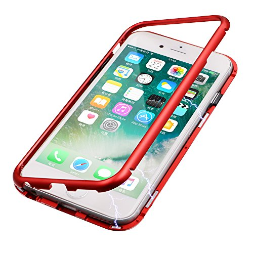 iPhone 7 Case, iPhone 8 Case, Diaxbest Ultra Slim Magnetic Adsorption Metal Case, Hard Clear Tempered Glass Back Cover Support Wireless Charging Compatible iPhone 7 iPhone 8 (4.7 inch) (Clear Red)