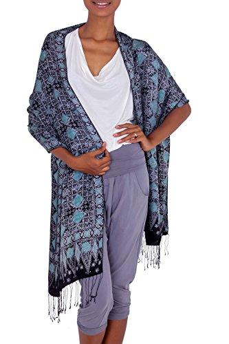 (NOVICA Hand-Stamped Blue Women's 100% Silk Shawl, Blue Sarangan' )