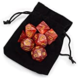 7 Die Polyhedral Dice Set - Dragon Scales (Red Pearl) with Velvet Pouch by Wiz Dice
